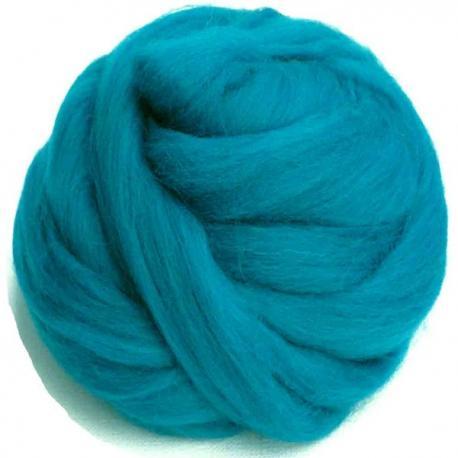 Lana cardada en cinta - azul turquesa.