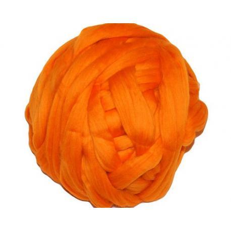 Lana cardada en cinta - naranja brillante.