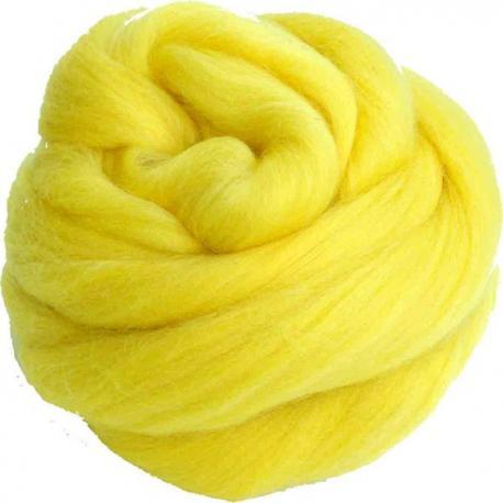 Lana cardada en cinta amarillo brillante