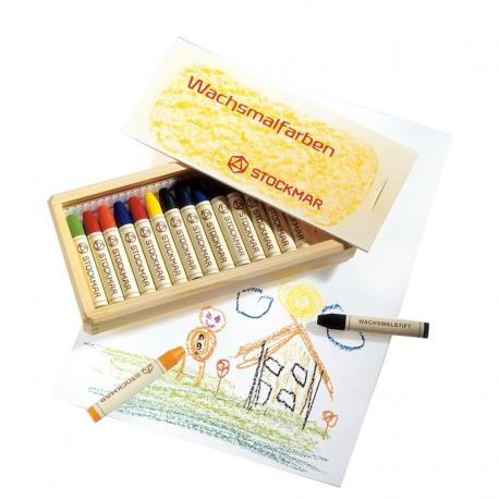 Stockmar - Lápices de cera caja madera 16 uds.