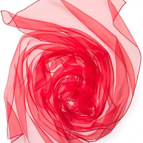 Chal de seda chiffon - rojo tomate