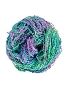 Algodón y lino boucle turquesa lila