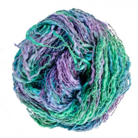 Algodón y lino boucle  lila-verde