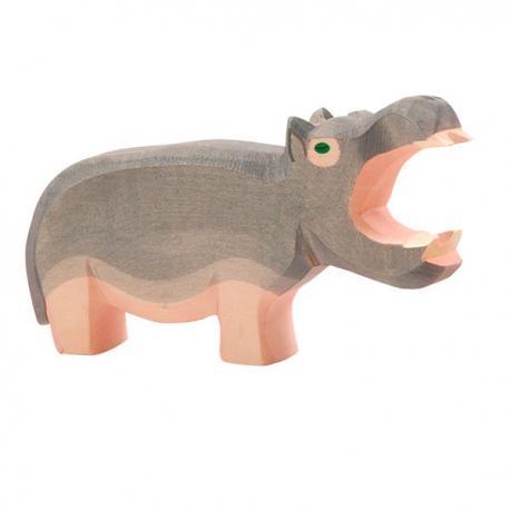 Hipopótamo de madera boca abierta