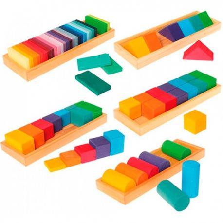 Set de construcción de madera formas geometricas