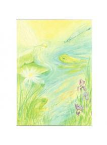 Postal Elfa y rana en estanque