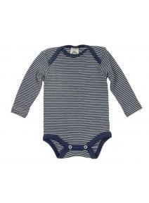 Body manga larga de lana y seda - azul