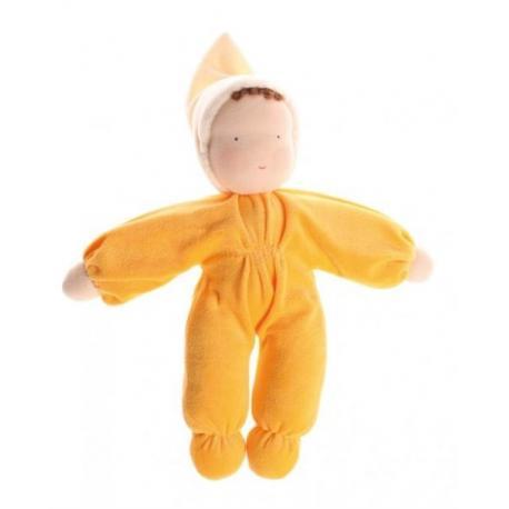 Muñeca Waldorf de terciopelo - amarilla