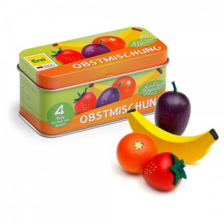 Caja con frutas de madera