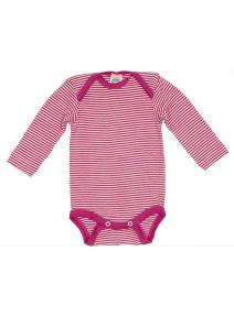 Body manga larga de lana y seda - rosa