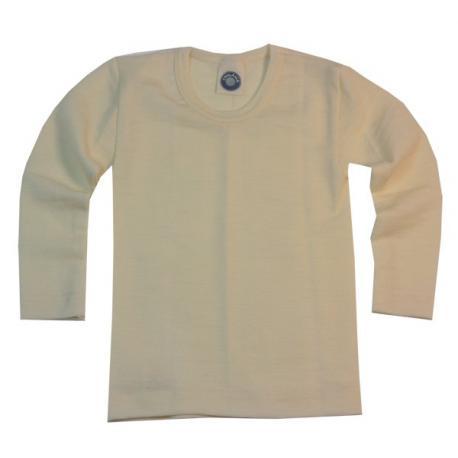Camiseta interior de manga larga de lana y seda - natural