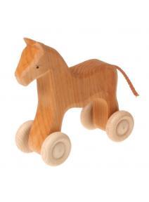 Caballo de madera con ruedas