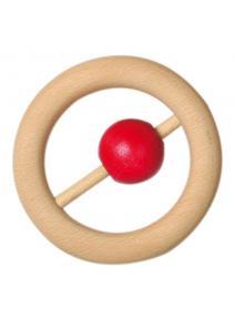 Sonajero de madera bolita roja