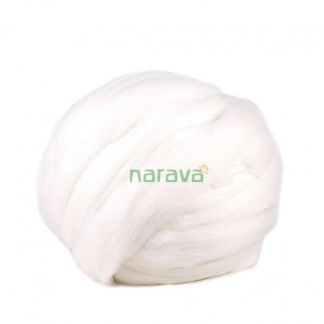 Lana cardada en cinta - blanco