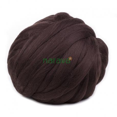 Lana cardada en cinta - marrón oscuro