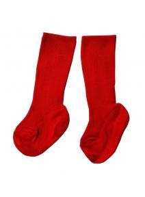 Calcetines altos de lana y algodón orgánico - rojo
