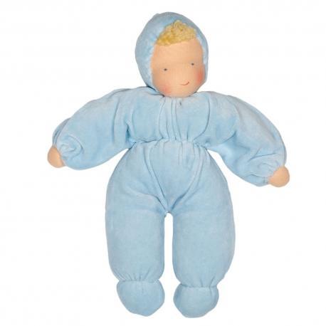 Muñeca waldorf azul claro