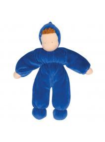 Muñeca waldorf azul