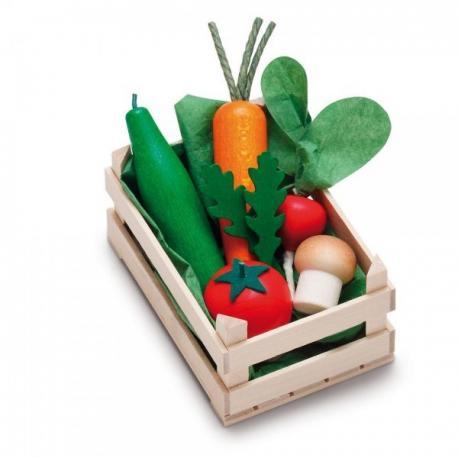 Surtido de verduras de madera