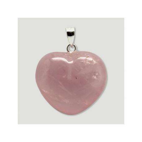 Colgante de plata corazón Cuarzo rosa