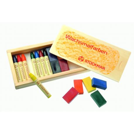 Stockmar - Lápices/bloques 8/8  en caja de madera