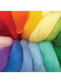 Pack lana cardada peinada en cinta colores arco iris