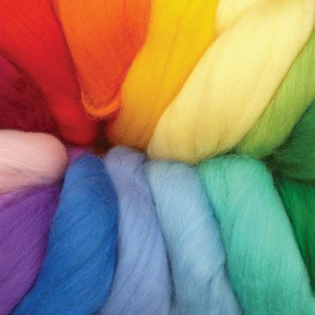 Pack lana cardada peinada en colores arco iris