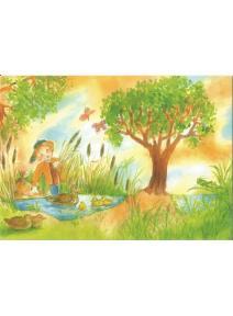 Postal - Niño en el lago