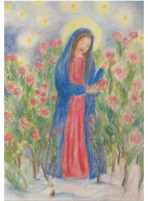 Postal - María en el jardín de rosas