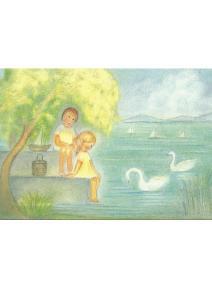 Postal - Julio, niños en el lago