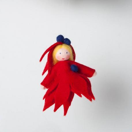 Muñeca hoja roja para colgar