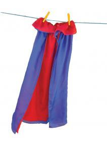 Capa de seda reversible azul/rojo
