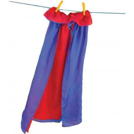 Capa de seda reversible - rojo - azul.
