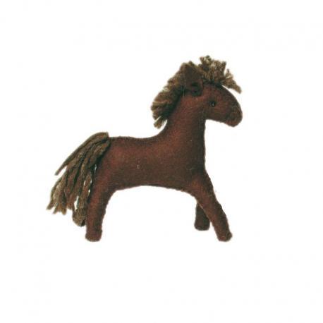 Caballo de fieltro marrón oscuro
