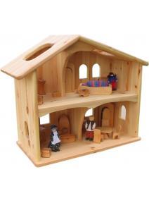 Casa de muñecas de madera natural