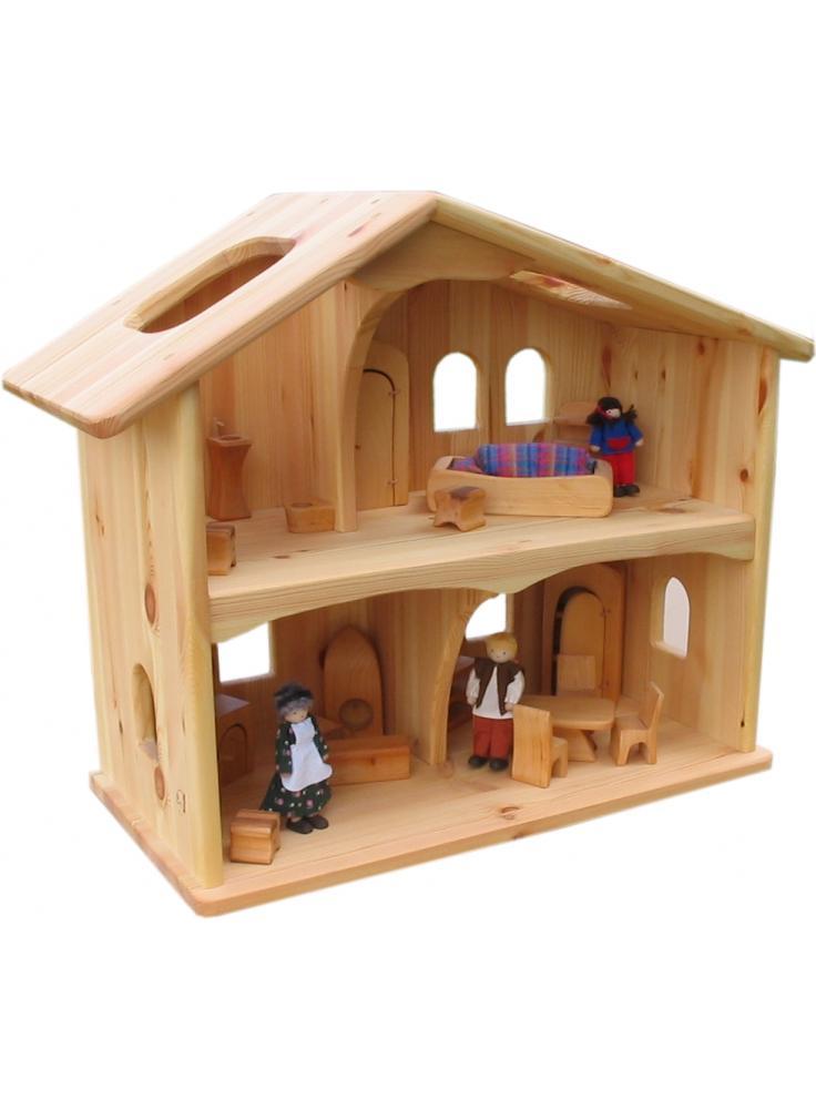 Casa de mu ecas de madera natural - Casas de madera natural ...