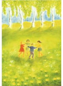 Postal - Niños bailando en primavera