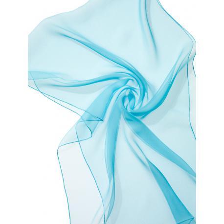 Chal en seda chiffon - azul turquesa claro
