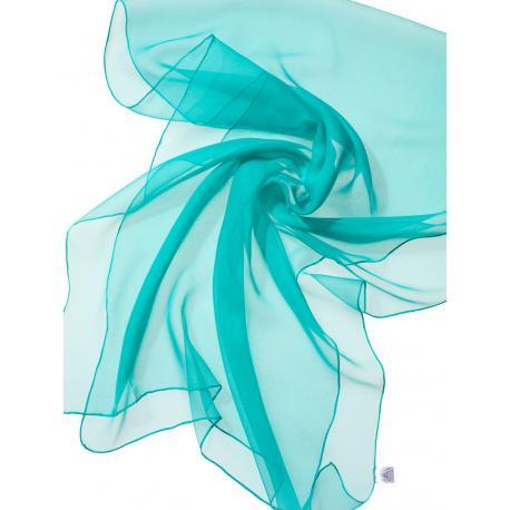 Chal de seda chiffon - azul laguna