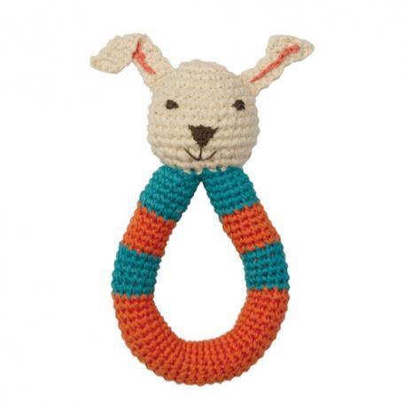 Sonajero Conejo de ganchillo de algodón orgánico