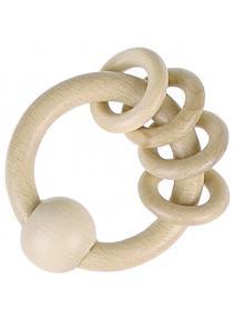 Mordedor sonajero anillas de madera
