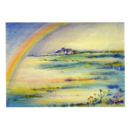 Postal Arco Iris y margaritas