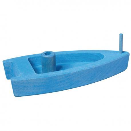 Barco de madera azul