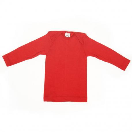 Camiseta de lana y seda roja
