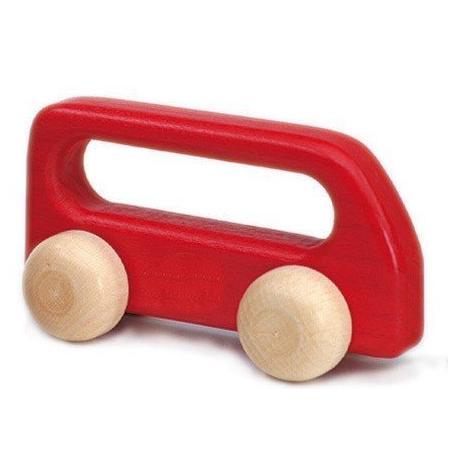Autobús de madera pequeño rojo