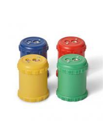 Sacapuntas doble con contenedor plástico