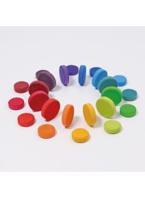 Monedas de madera arco iris Grimm's