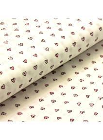Tela de algodón blanca Corazón