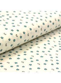 Tela de algodón blanca Luna y Estrella