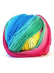 Lana merino - rosas, amarillos, verdes y azules